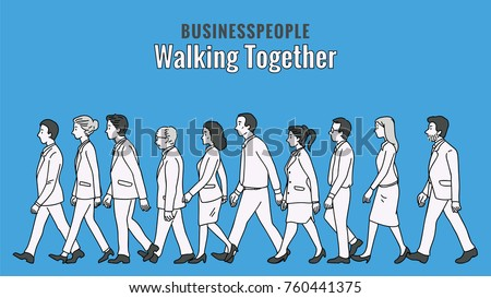 Vector illustration full length character of businesspeople, man and woman, walking together in the same direction, multi-ethnic, side view. Outline, linear, thin line art, hand drawn sketch.