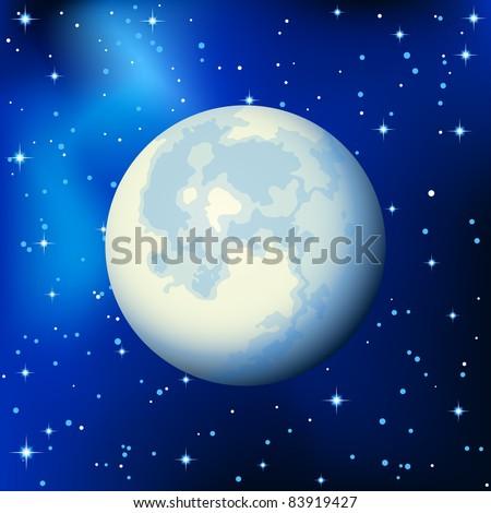 Vector illustration - full moon in the star sky