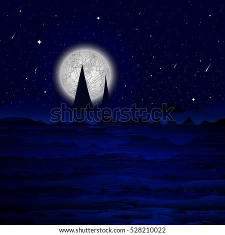 vector illustration   full moon