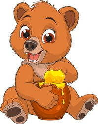 Vector illustration, funny baby bear likes to eat honey from a pot, coloring