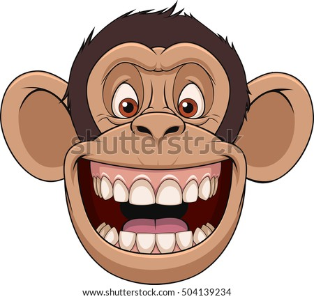 Vector illustration, funny chimpanzee head smiling, on a white background