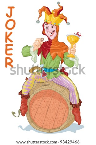 Vector illustration, funny drunk joker harlequin believed to be king, card concept, white background.