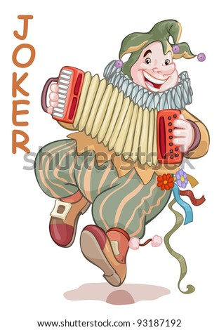 Vector illustration, funny joker playing accordion, card concept, white background.