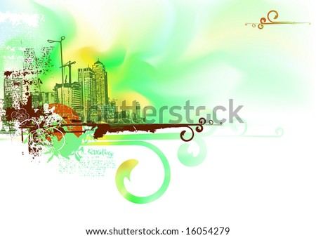 Vector illustration - Futuristic looking, watercolor grunge urban background. - stock vector
