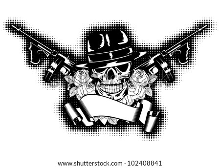 Vector illustration gangster, roses, submachine gun and banner