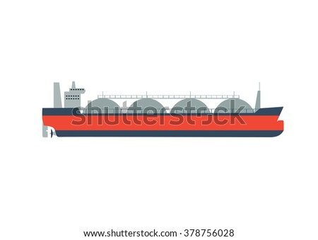Vector illustration gas tanker, flat design isolated on white background.