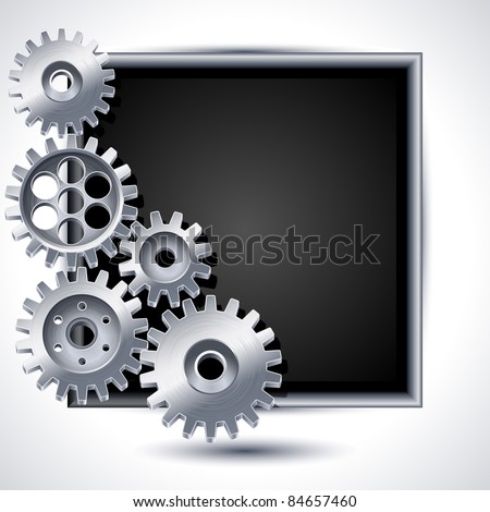 Vector illustration - gears and black chalkboard