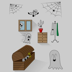 vector illustration ghosts in the amount of seven pieces hide and seek in a room with a chest of drawers, a hanger, a chest and a window with a spider web in the upper corners of the pattern with spid