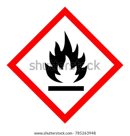 Vector illustration GHS hazard pictogram - flammable , hazard warning sign flammable icon isolated on white background Foto stock ©