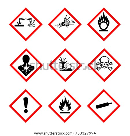 Vector illustration GHS pictogram hazard sign set, set icons isolated on white background. Dangerous, hazard symbol collections