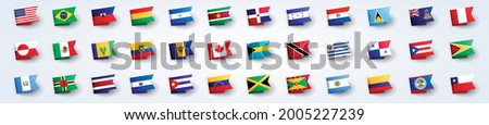 Vector Illustration Giant Flag Set Of South And North America