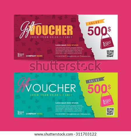 Vector illustration,Gift voucher template with colorful pattern,cute gift voucher certificate coupon design template,Collection gift certificate business card banner calling card poster