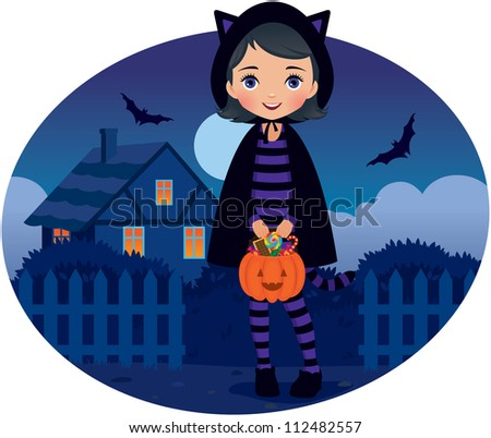 Vector illustration girl in costume a Halloween cat