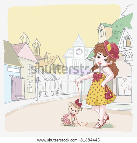 Vector illustration, girl on walk with her dog, card  concept.