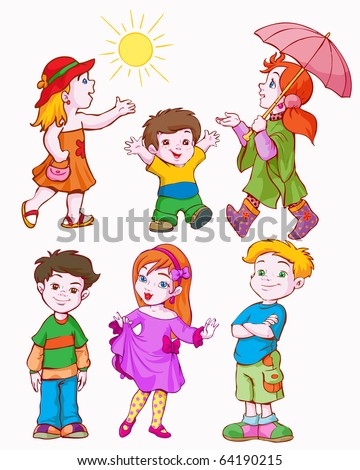 vector illustration, girls and boys, cartoon concept, white background