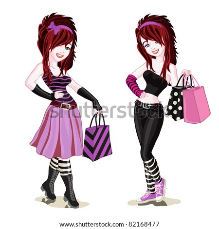 vector illustration  girls in