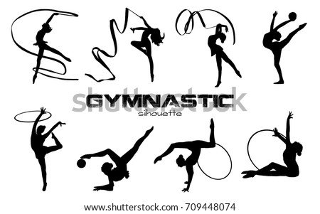 Vector illustration. Girls silhouettes. Artistic gymnastics silhouettes. Logo elements.