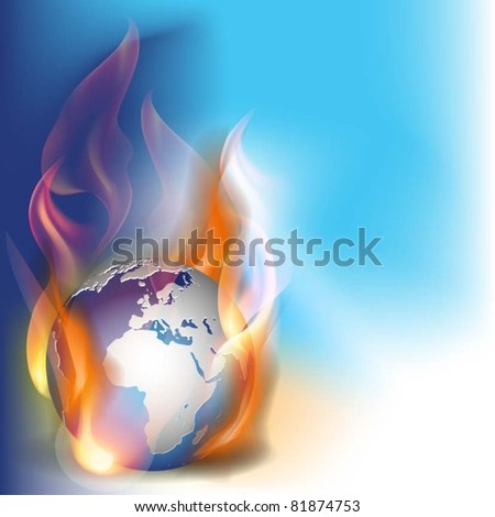 vector illustration globe in flames
