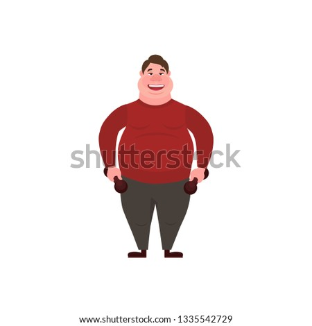 Vector illustration. Glutton Thick man. Fat man with dumbbells. Concept Health problems of fast food.