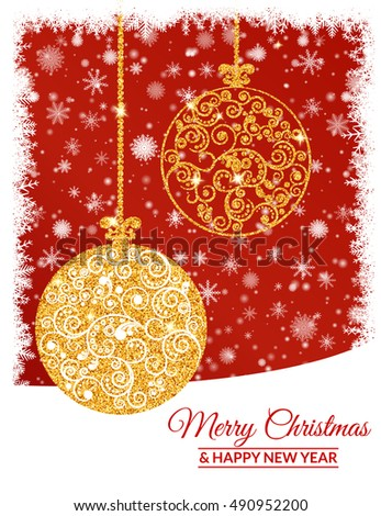 Vector illustration. Gold Christmas balls decorated with a delicate pattern on a background of falling snowflakes. Design for greeting cards, banners, posters.