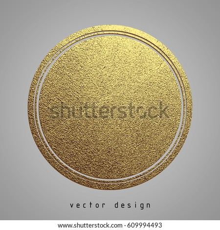 Vector illustration. Gold rubber stamp. Luxury golden vintage border.