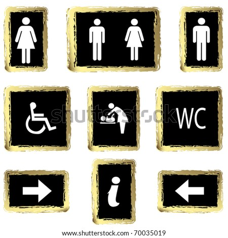 Vector illustration gold toilette sign