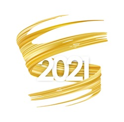 Vector illustration: Golden brush stroke oil or acrylic paint with number of 2021. New Year Poster trendy design