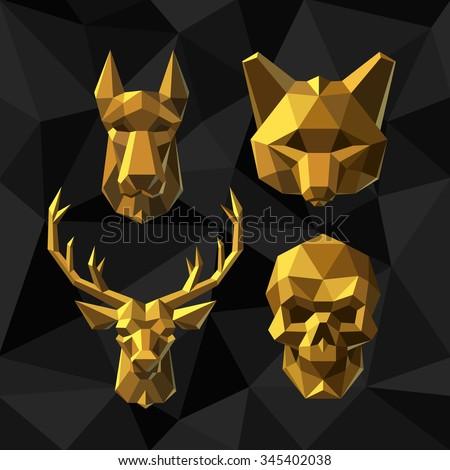 vector illustration golden dog