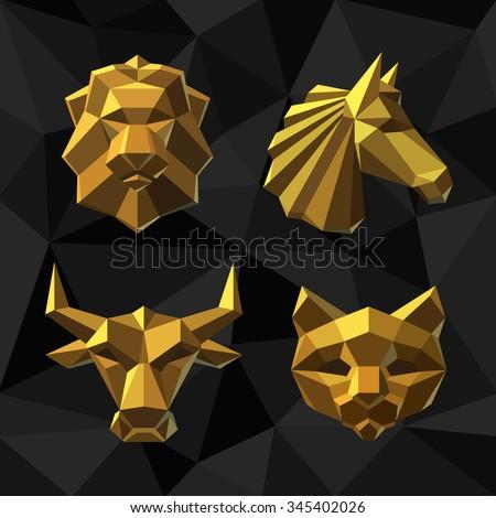 vector illustration golden lion