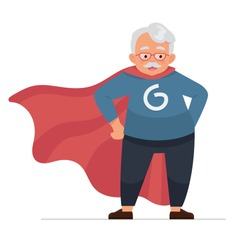vector illustration grandfather as a hero, old man wear a superhero character