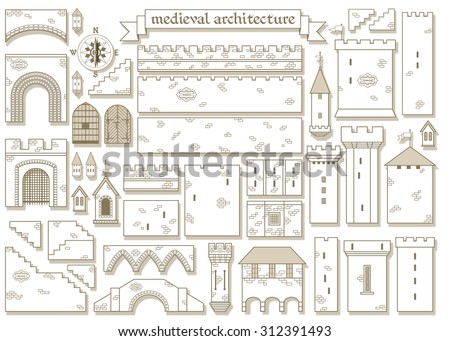 Vector illustration graphic architectural elements of the Design a castle online