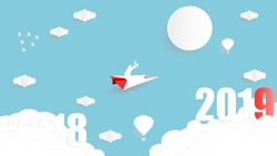 Vector illustration graphic design of business man sitting on the paper plane flying from year 2018 to year 2019 over the sky, paper art style concept for 2019 new year.
