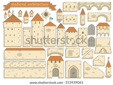 Stock Photo Vector illustration: graphic elements of the european middle ages royal castle isolated on white background - design your own castle for your pattern or web-site