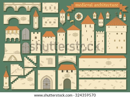 Stock Photo Vector illustration: graphic elements of the middle ages european royal castle - design your own castle for your pattern or web-site isolated on dark green background