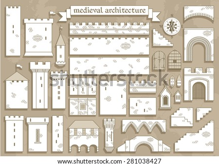Stock Photo Vector illustration: graphic elements of the middle ages royal castle - design your own castle for your pattern or web-site