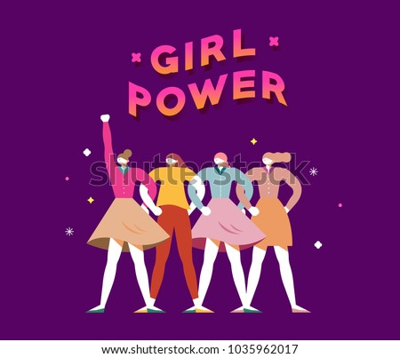 vector illustration graphic group of women, girls, power, strong, strength