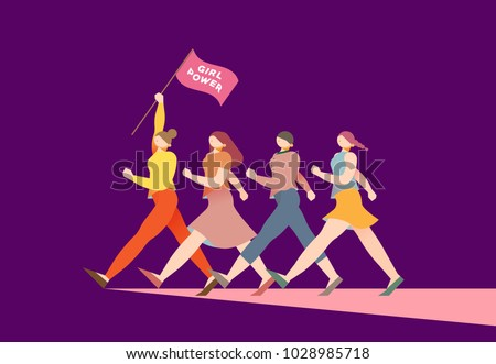 vector illustration graphic group of women walking, girls, power, strong, strength