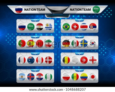 Vector Illustration Graphic of Scoreboard Broadcast and Lower Thirds Template for soccer world tournament championship