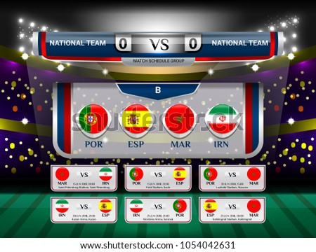 Vector Illustration Graphic of Scoreboard Broadcast and Lower Thirds Template for world soccer tournament championship 2018 in russia