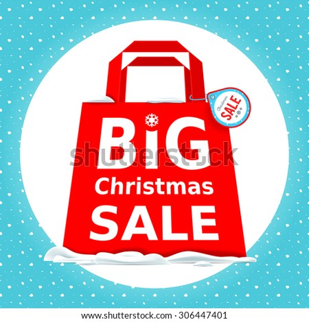 Vector illustration. Great Christmas sale. Holiday Sale with big red shopping bag on a white background.