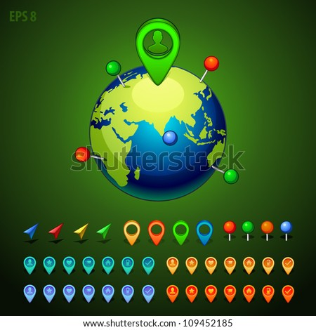 vector illustration green earth with a pins set