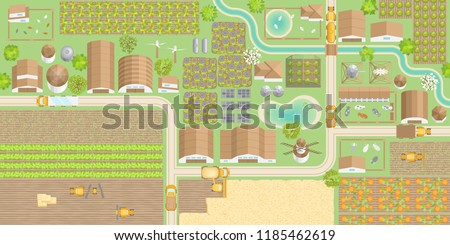 Vector illustration. Green farm. (top view) Fields, vegetable gardens, hangars, buildings, barns, agricultural machinery, ponds, road. (view from above)