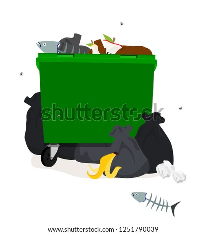 Vector illustration: Green plastic garbage containers with unsorted trash . Rubbish and trash bags lying around dump. Scene with pile of waste that smells ugly and started to decompose.