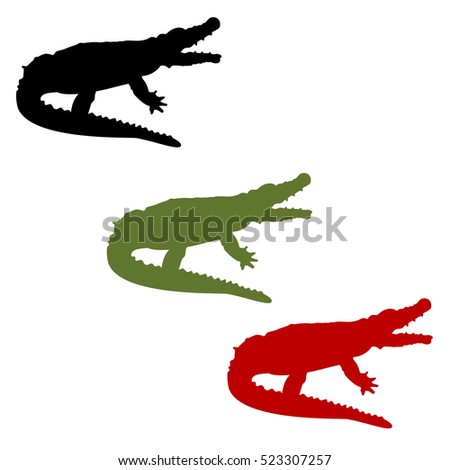 Vector illustration green, red and black crocodile sign set for design. African animal icon. Zoo. Crocodile logo.