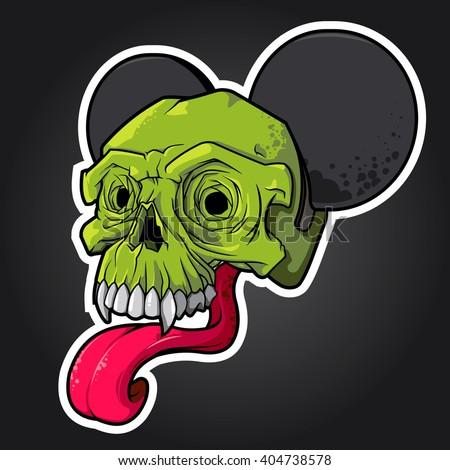 vector illustration. green skull with ears and a long tongue. skull vector, skull logo, skull art, skull sticker, skull character, skull cartoon, skull angry, skull beautiful, skull brutal Stock fotó ©