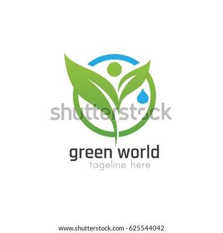 Vector Illustration : Green World Logo Design