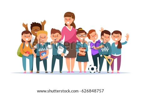 Vector illustration group elementary school boy and girl and teacher in classroom in cartoon style isolated. The design concept postcard for teachers \' day