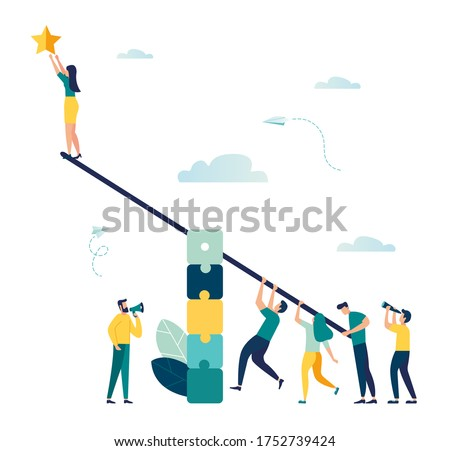 Vector illustration, groups of people on a swing and a steady pyramid of puzzles, teamwork to get a star from the sky, achieving success Сток-фото ©