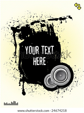 vector illustration - grunge text frame on grunge audio background