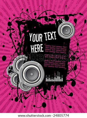 vector illustration - grunge text frame on pink audio background